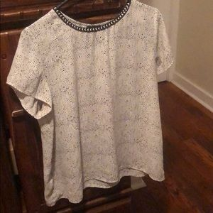 W5 Blouse with Embroidered Neckline